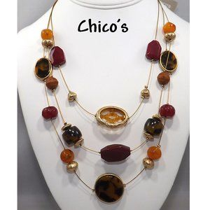 Chico's Orange Brown Red Beads on Wire Necklace